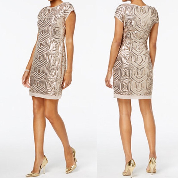 aa600a73e32 Vince Camuto Gold Geo Sequin Shift Dress 16. M 5a7f0a473b160886546df0c9